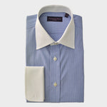 Classic Collar Contrast with Stripe Cotton Shirt