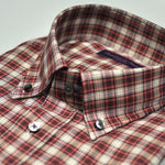 Check Button Down Cotton Over-Shirt in Claret & Cream