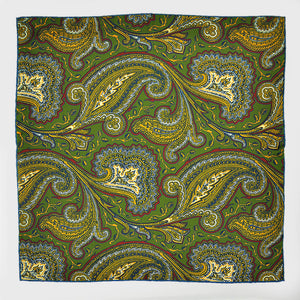 Dynamic Paisley English Silk Pocket Square in Green & Gold