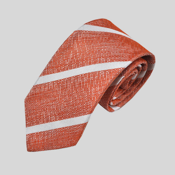 English Tussah Weave Silk Stripe Tie