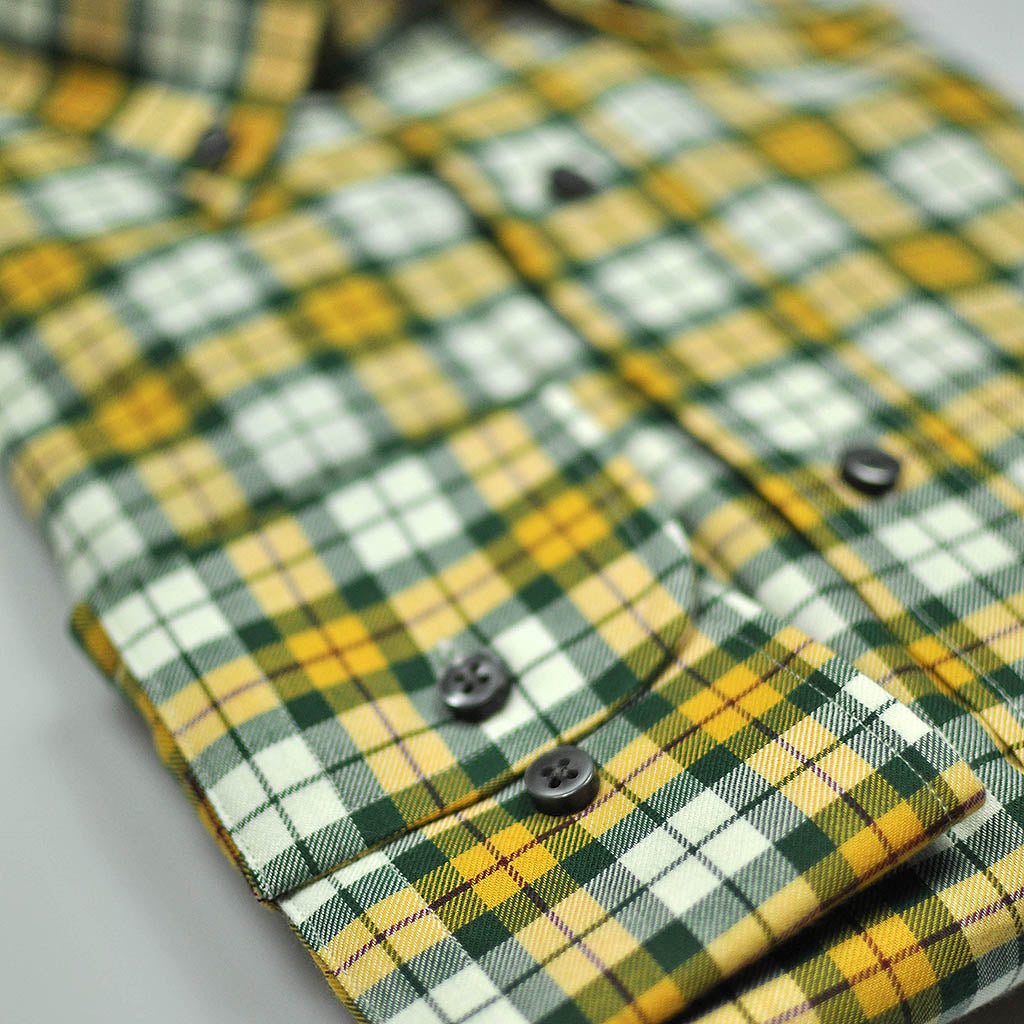 Check Button Down Cotton Over-Shirt in Yellow & Green