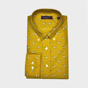 Little Terrier Button Down Cotton Shirt in Mustard