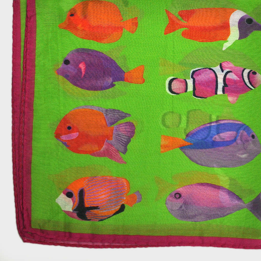 Tropical Fish Silk & Cotton Pocket Square in Lime