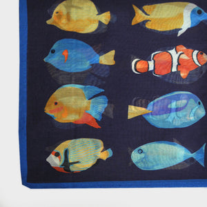 Tropical Fish Silk & Cotton Pocket Square in Midnight Blue