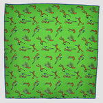 English Silk Sporty Frog Pocket Square in Bright Green