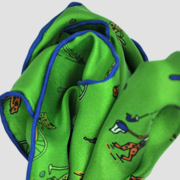 English Silk Sporty Frog Pocket Square