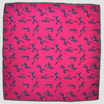 English Silk Sporty Frog Pocket Square in Pink