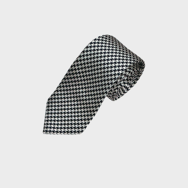 Deep Blue Small Houndstooth Panama Weave Silk Tie