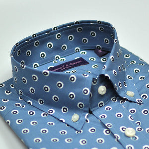Dots & Hoops Button Down Cotton Shirt in Blue
