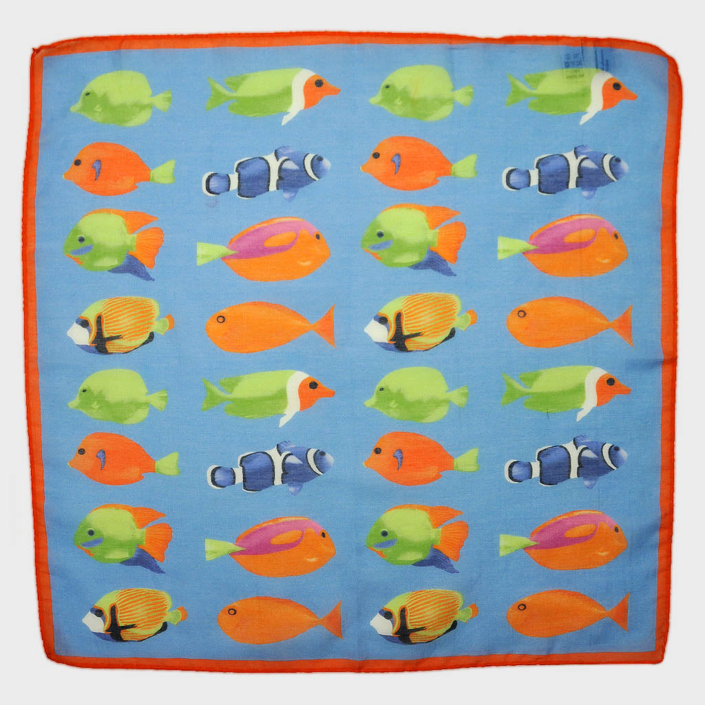 Tropical Fish Silk & Cotton Pocket Square in Sky Blue