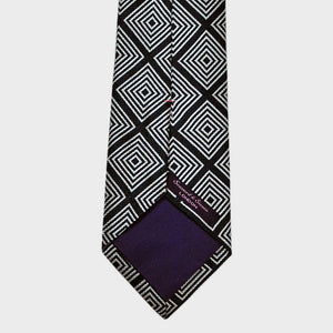 Navy and White Repeat Diamond Geo Woven Silk Tie