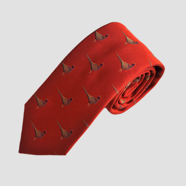 English Woven Pheasant Silk Tie