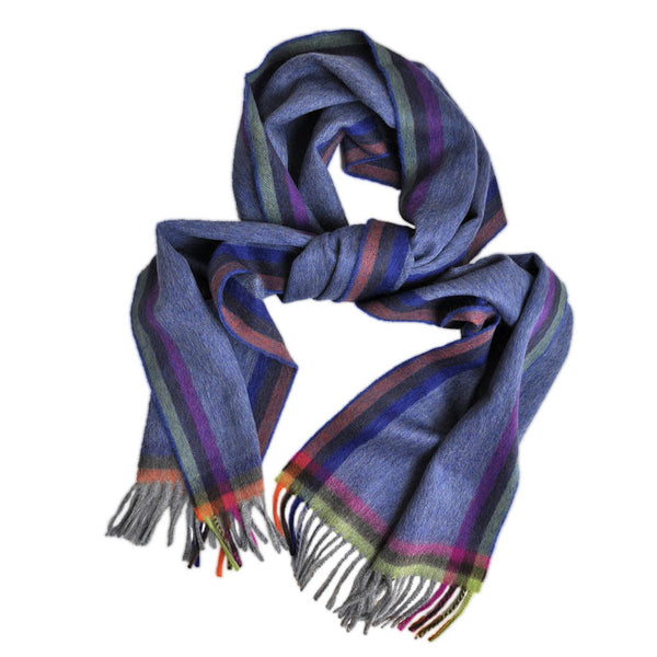 Wool Border Stripe and Colours Winter Scarf