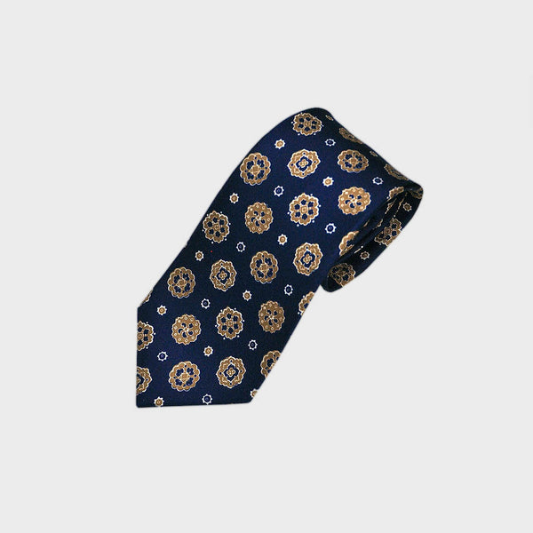 Navy and Orange Funky Floret Silk Tie