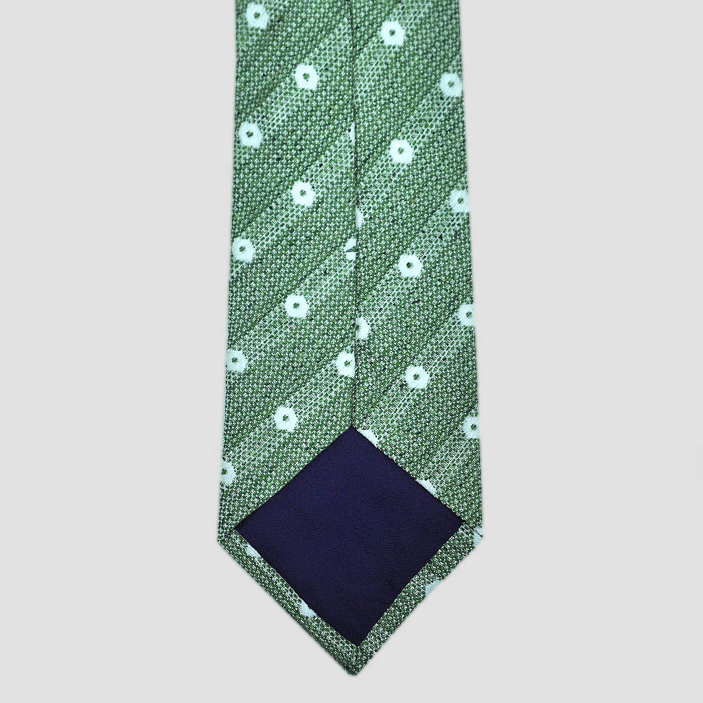 Spotted Silk & Linen Slub Tie in Summer Green