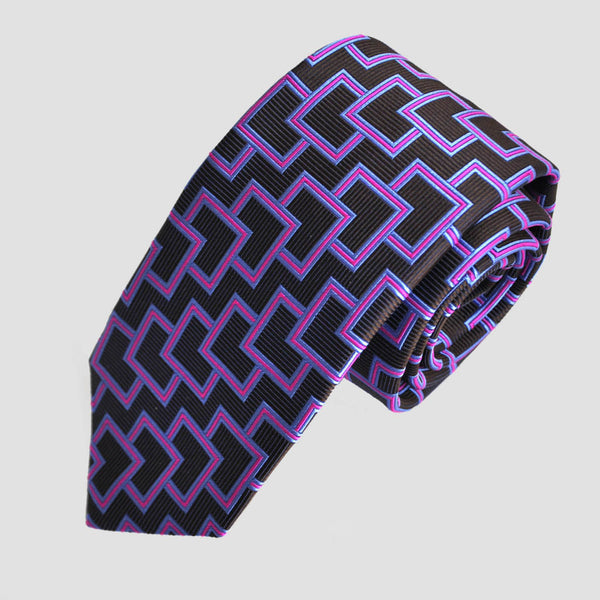 English Woven Silk Layered Geometric Squares Tie