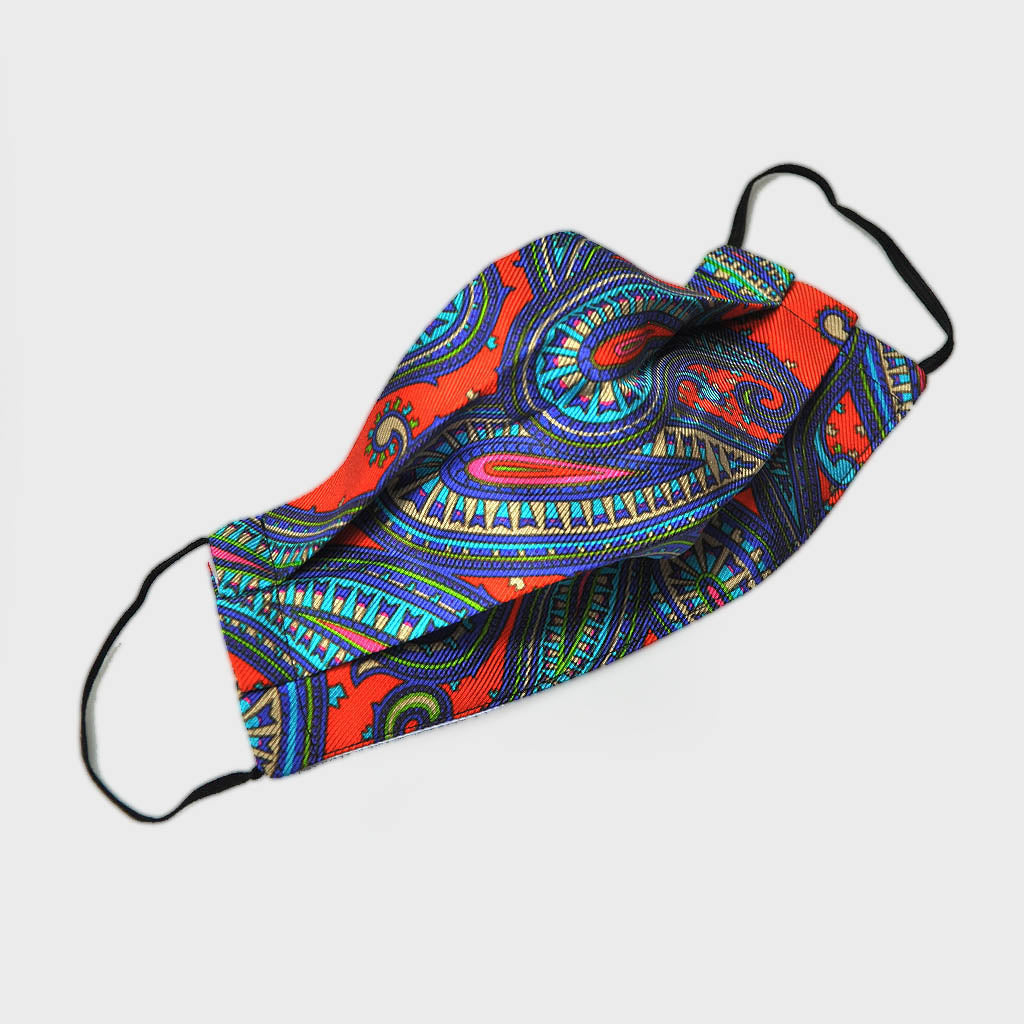 Paisley Silk Face Cover in Red & Blue
