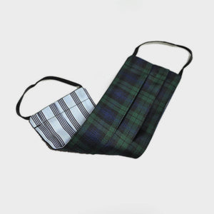 Plaid Silk Face Cover in Blue & Green
