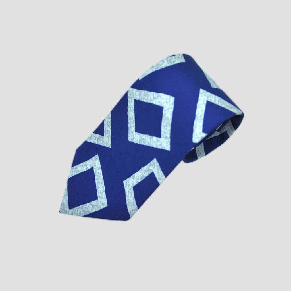 English Silk Groovy Square Print Tie in Royal Blue