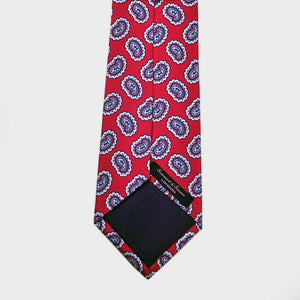Red and Blue Paisley Teardrop Silk Tie