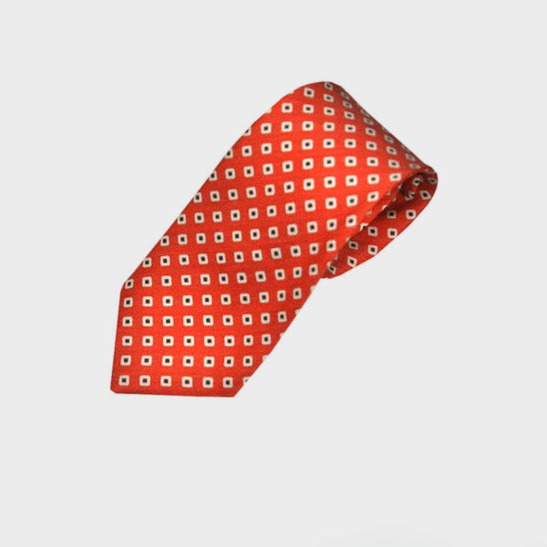 Groovy Little Squares Silk Linen Tie in Red