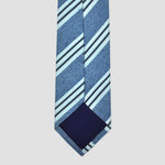 Summer Blue Stripes Silk & Linen Tie