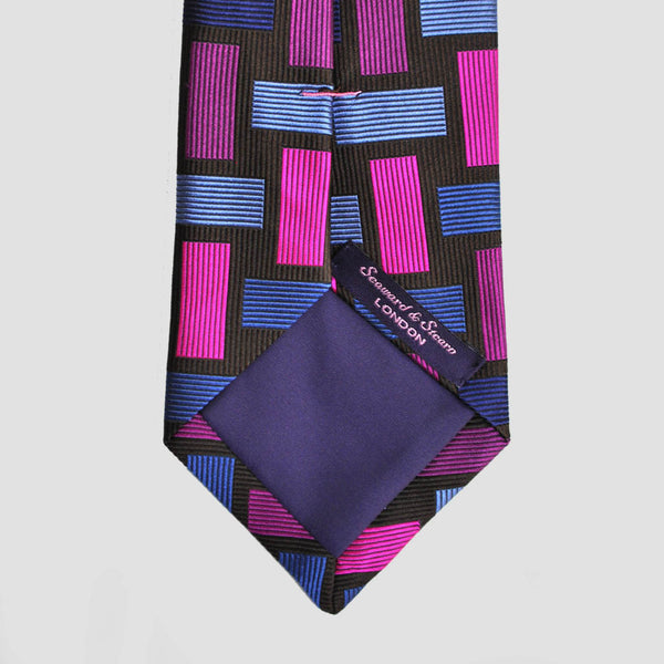 English Woven Silk Geometric Rectangles Tie