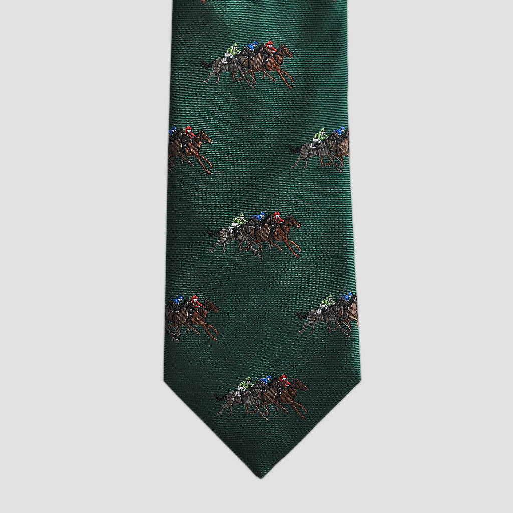 English Woven Silk At The Races Tie in Lawn Green