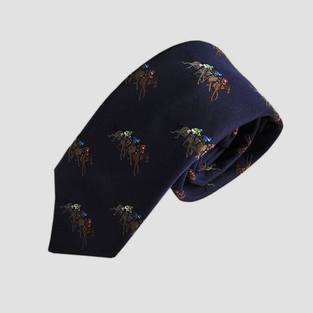 English Woven Silk At The Races Tie in Navy