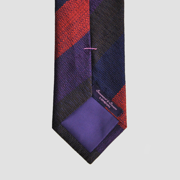 English Silk Natte Weave Bold Stripe Tie