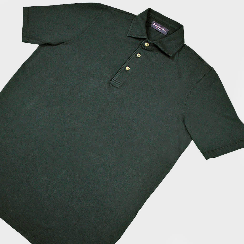 Fine Pique Cotton Polo Shirt in Dark Olive