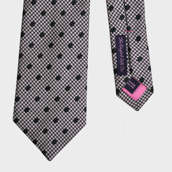 English Woven Silk Spotted Hounds Tooth Tie