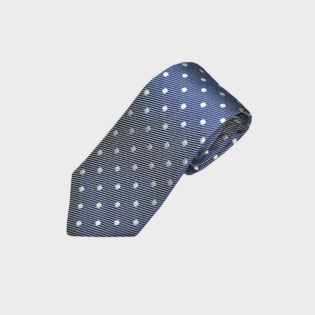 Classic Polka Dot Super Reppe Silk Tie in Mellow Blue