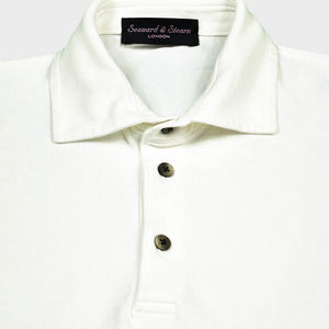 Fine Pique Cotton Polo Shirt in White