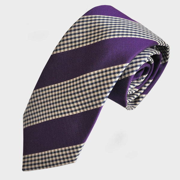 English Woven Silk Plaid and Stripe Tie