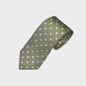 Classic Polka Dot Super Reppe Silk Tie in Olive
