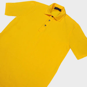 Fine Pique Cotton Polo Shirt in Sunset Yellow