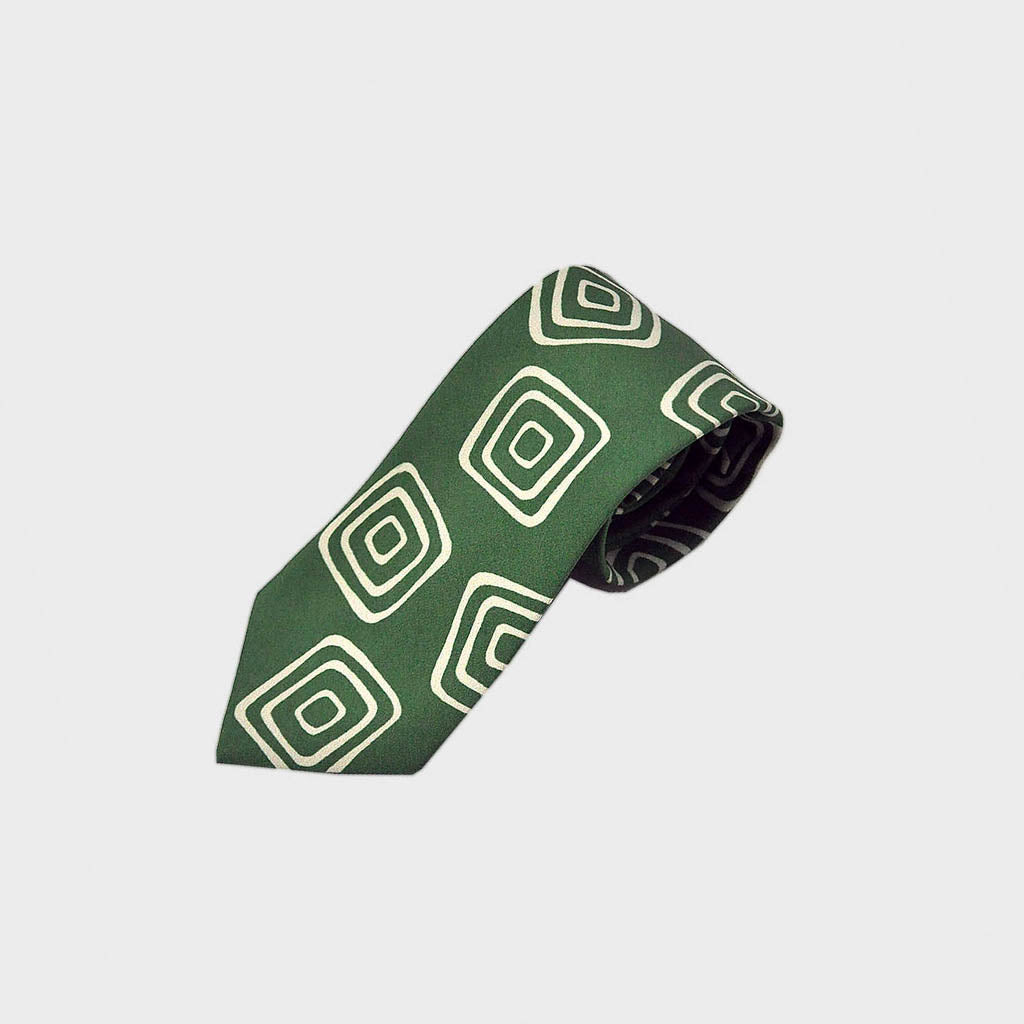The Groovy Square Silk Tie in Lime & White