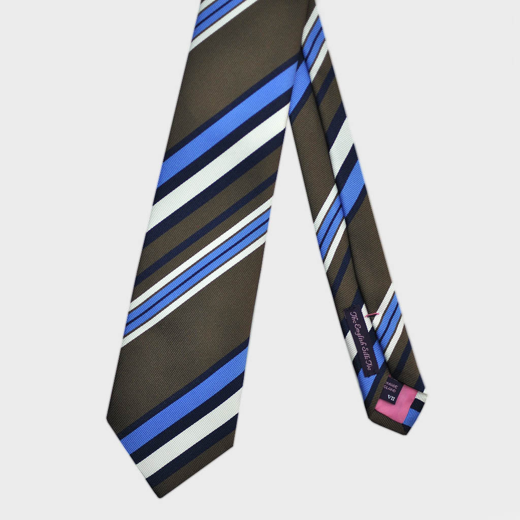 Blocks and Pins and Colour Striped Bottle Neck Silk Tie in Brown, Blue & White