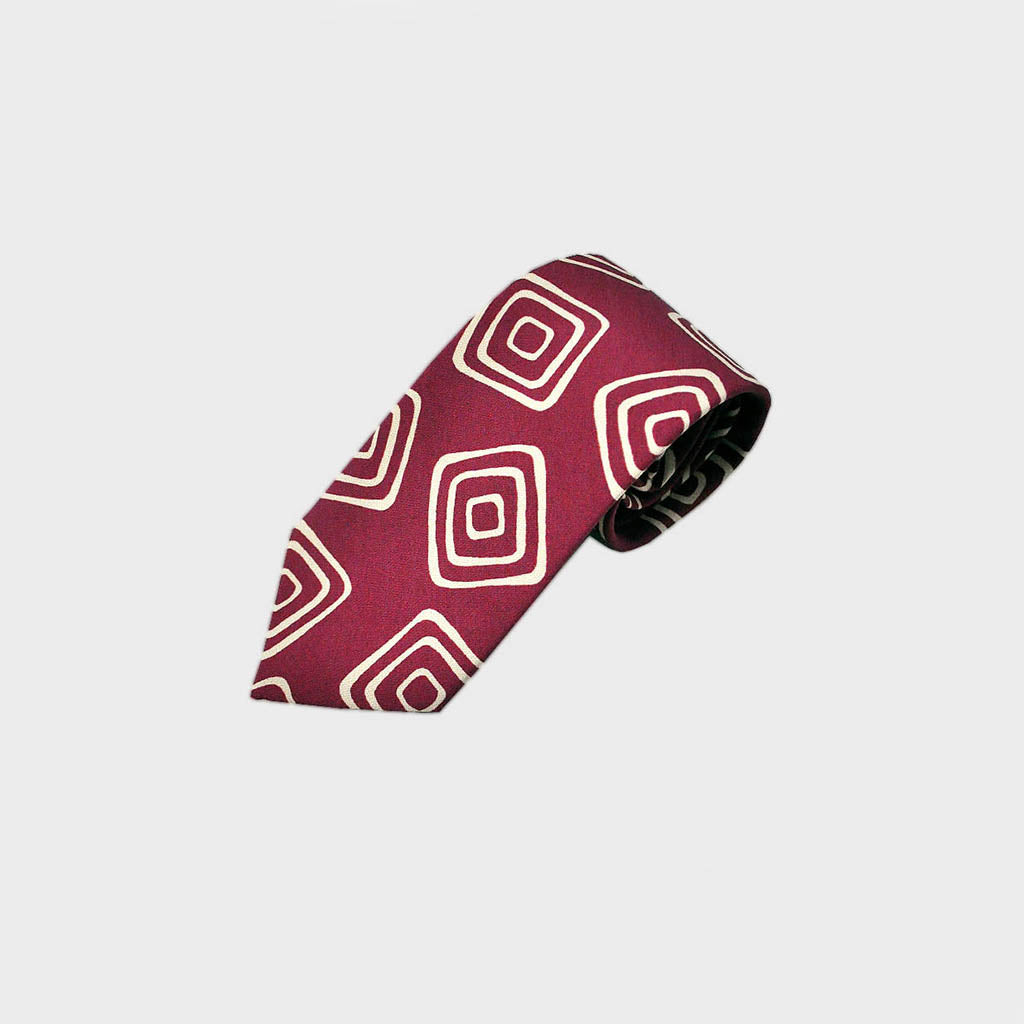 The Groovy Square Silk Tie in Burgundy & White