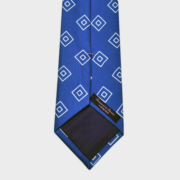Diamond Geo Repeat Reppe Silk Tie in Royal Blue