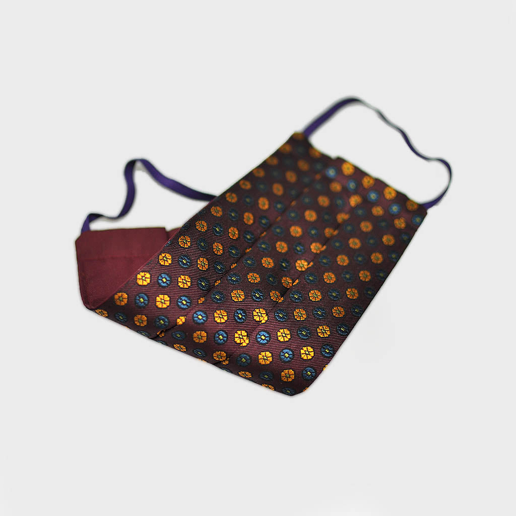 Florets Woven Silk Face Cover in Claret