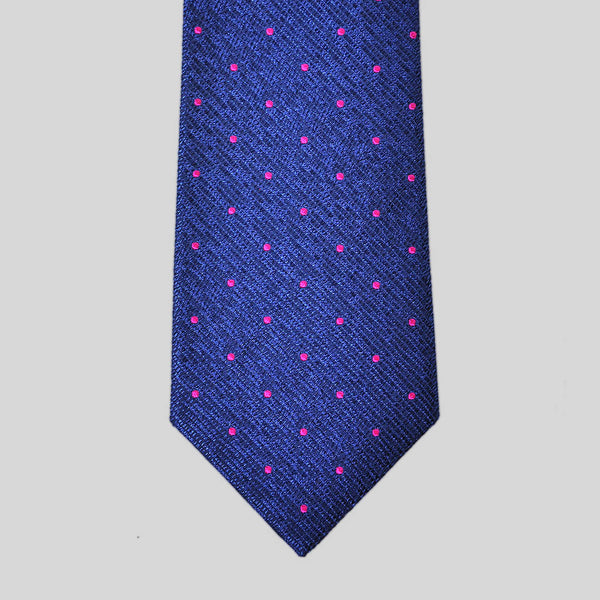 English Woven Silk Pink Dots Tie
