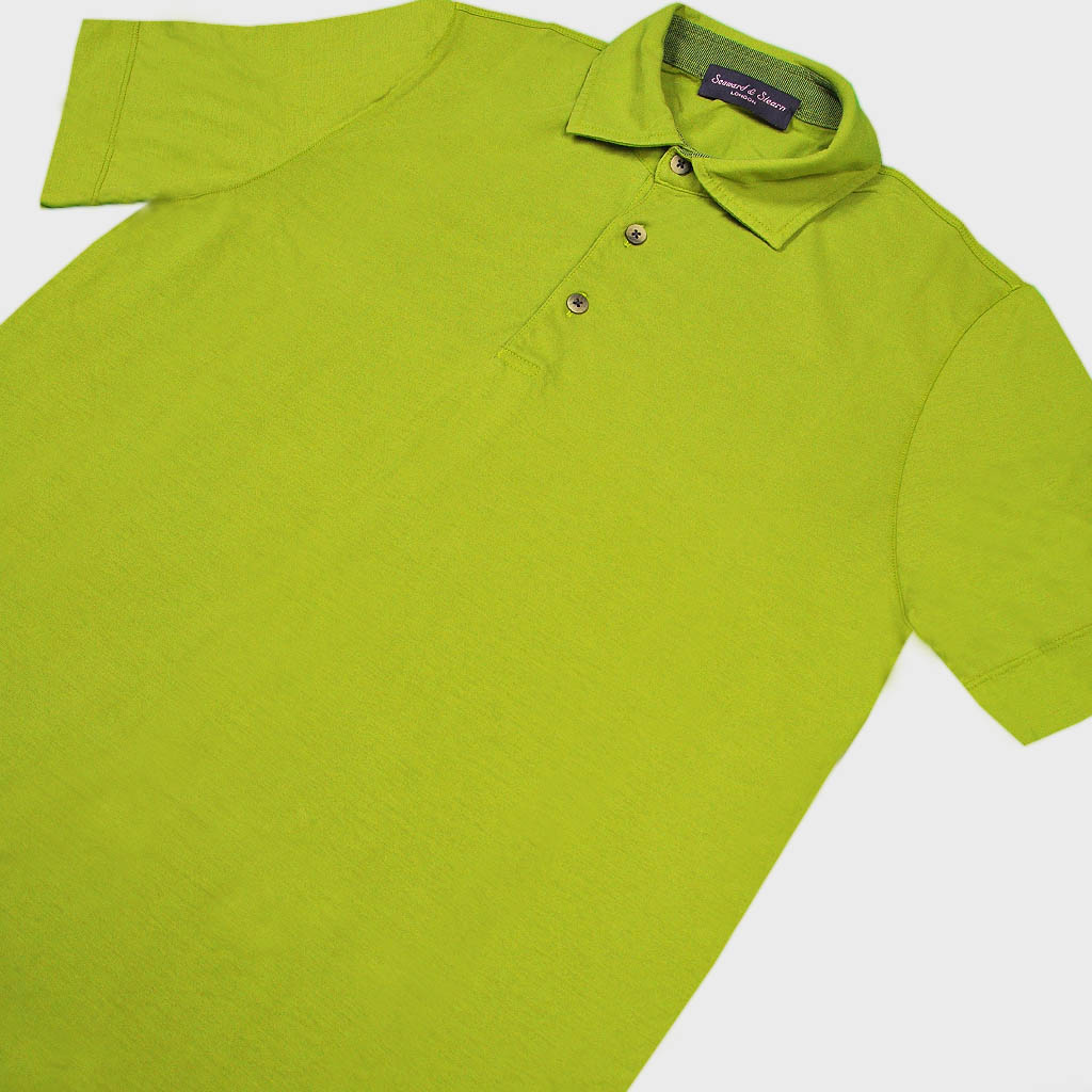 Super Fine Cotton Polo Shirt in Lime