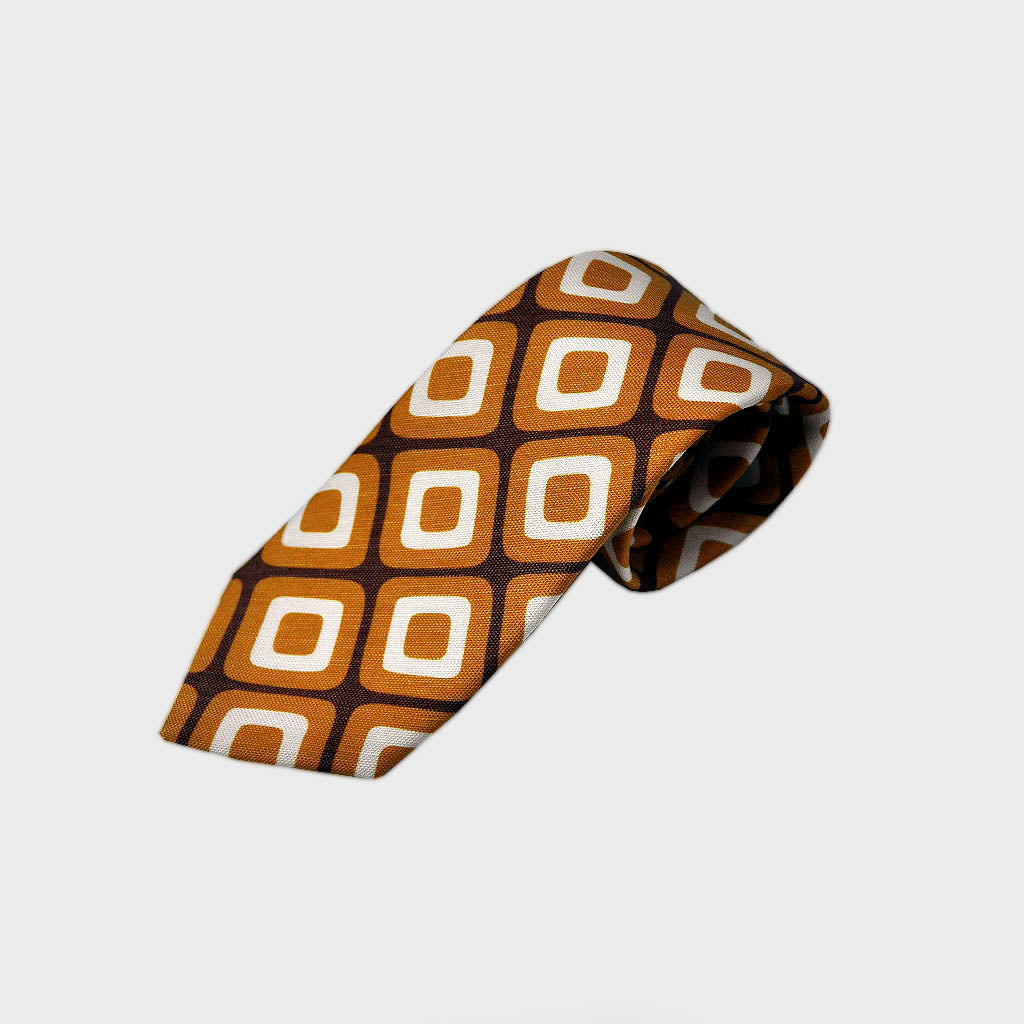 Retro Geometric Silk & Linen Tie in Brown & Ochre