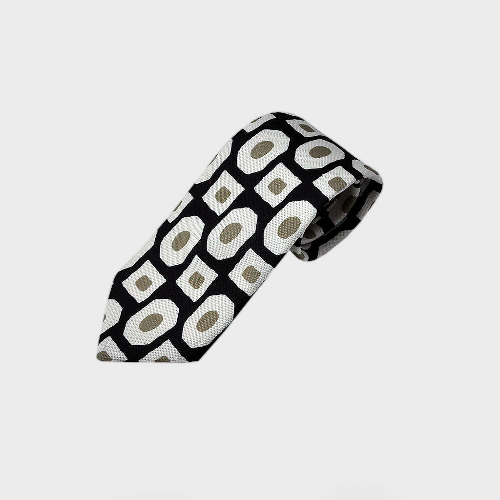 Funky Geo's Raw Silk Tie in Navy & White