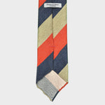 Bold Stripe Handrolled Slub Silk Tie in Blue, Fawn, Red