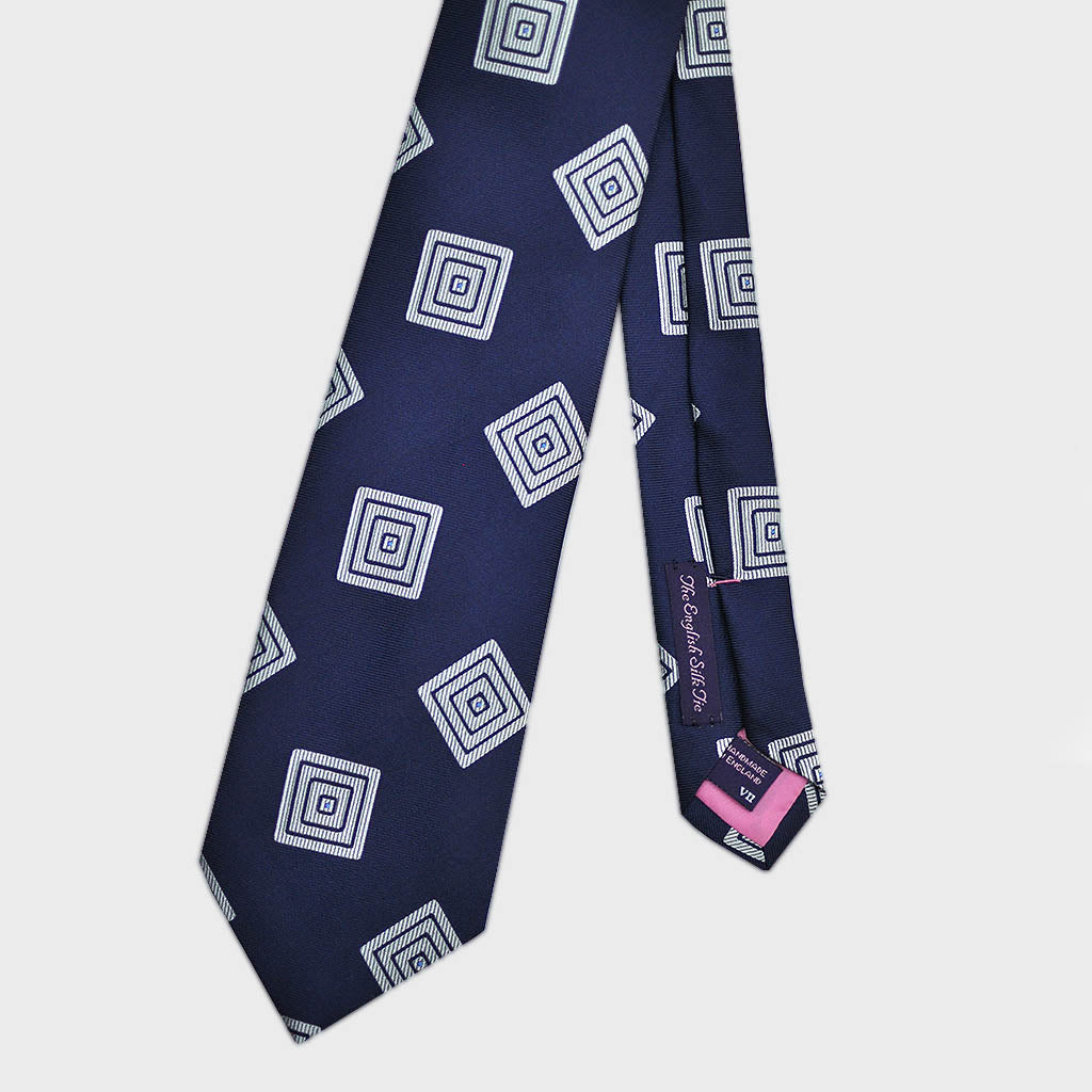 Dapper Squares Bottle Neck Silk Tie in Navy