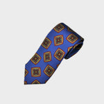 Bold Medallions Bottle Neck Silk Tie in Royal Blue