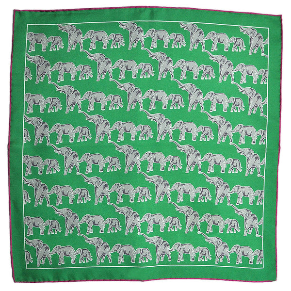 English Silk Marching Elephants Pocket Square